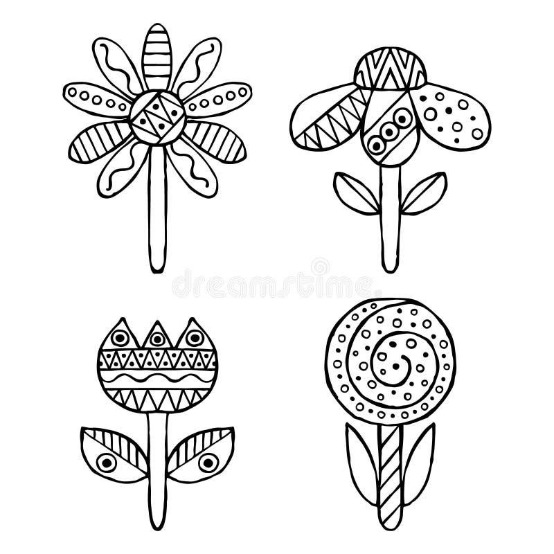 Uppsättning av drog dekorativa stiliserade barnsliga blommor för vektor hand Klotterstil, grafisk illustration Dekorativ gullig h stock illustrationer