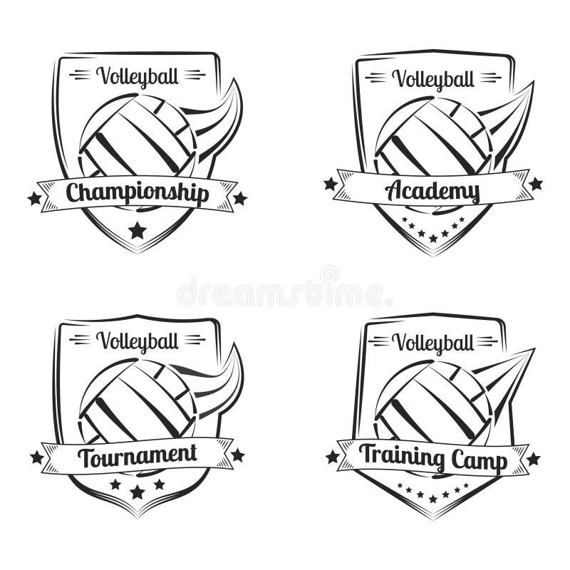 Uppsättning av drog emblem för volleyboll hand Sportlogodesign vektor illustrationer
