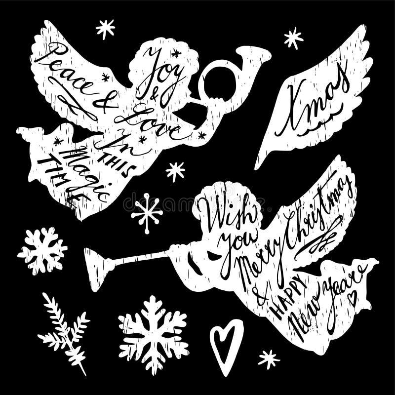 Uppsättning av drog julillustrationer för krita hand, änglar och snöflingor, s stock illustrationer