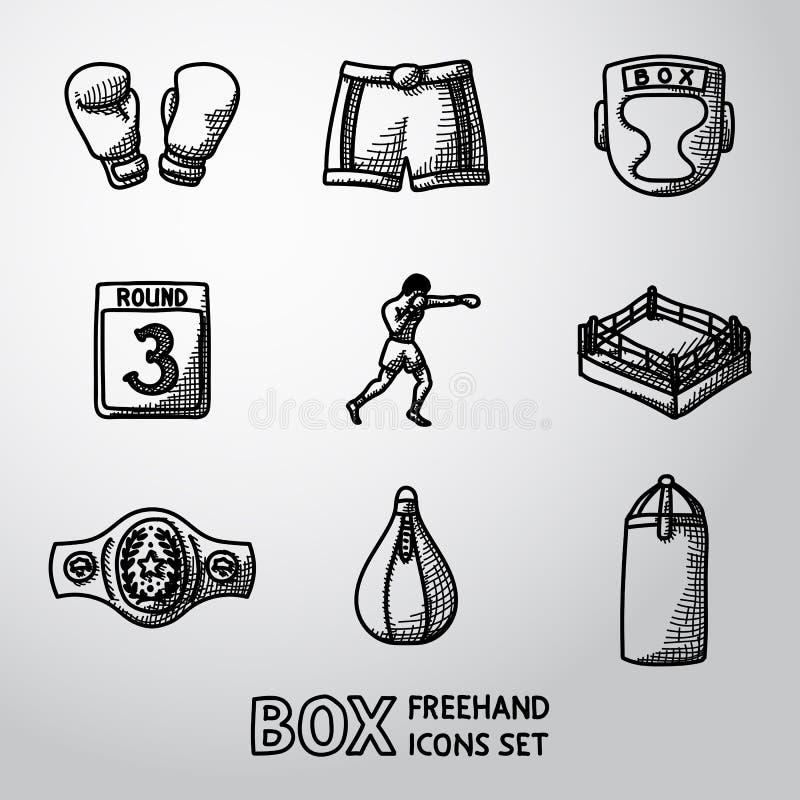 Uppsättning av drog symboler för boxning hand - handskar, kortslutningar royaltyfri illustrationer