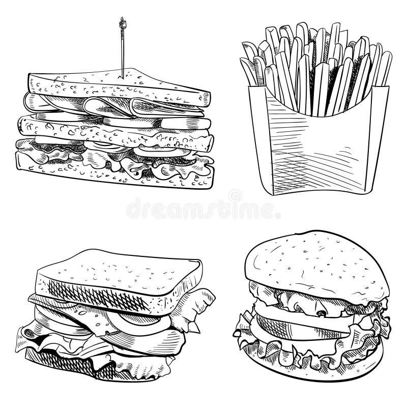 Uppsättning av drog VEKTORillustrationen för snabbmat den hand på vit bakgrund Småfiskar smörgås, hamburgare översikt royaltyfri illustrationer