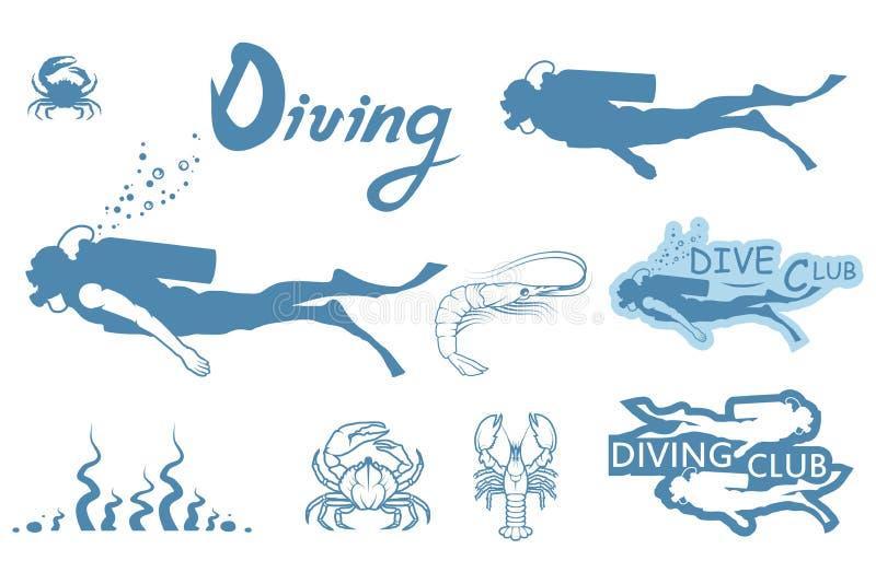 Uppsättning av Dykapparat-dykning vektor illustrationer