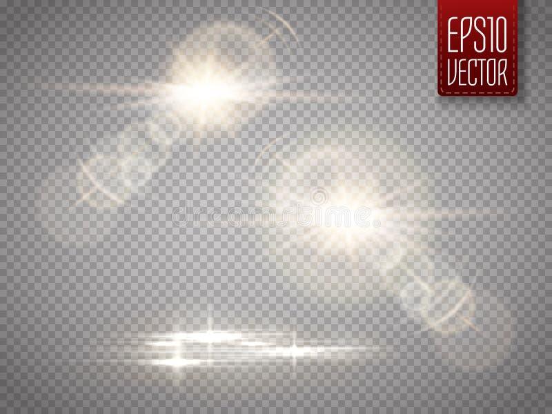 Uppsättning av effekt för genomskinlig för solljus för vektor ljus special signalljus för lins stock illustrationer