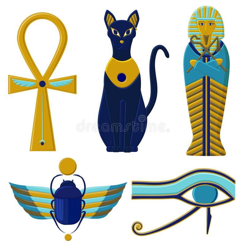 Uppsättning av egyptiskt tecken och symboler Kulturer av forntida Egypten vektor illustrationer