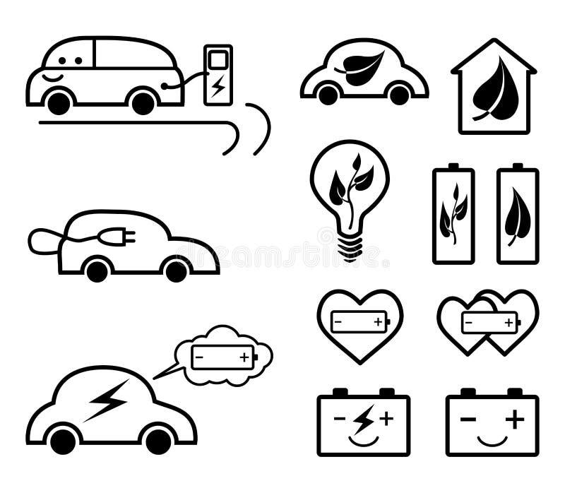 Uppsättning av ekologi släkta översiktssymboler stock illustrationer