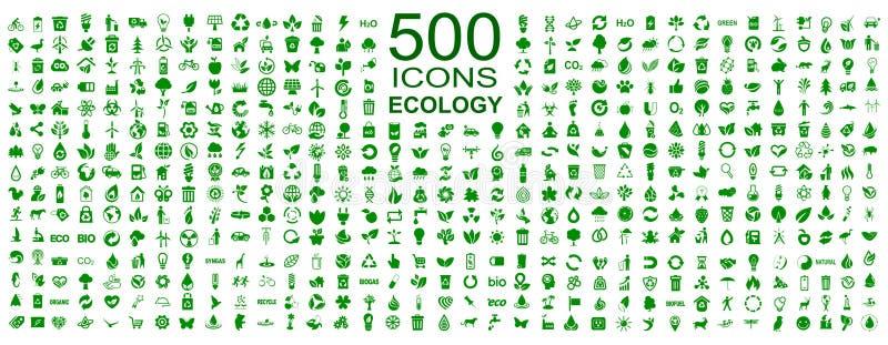 Uppsättning av 500 ekologisymboler - vektor arkivfoto