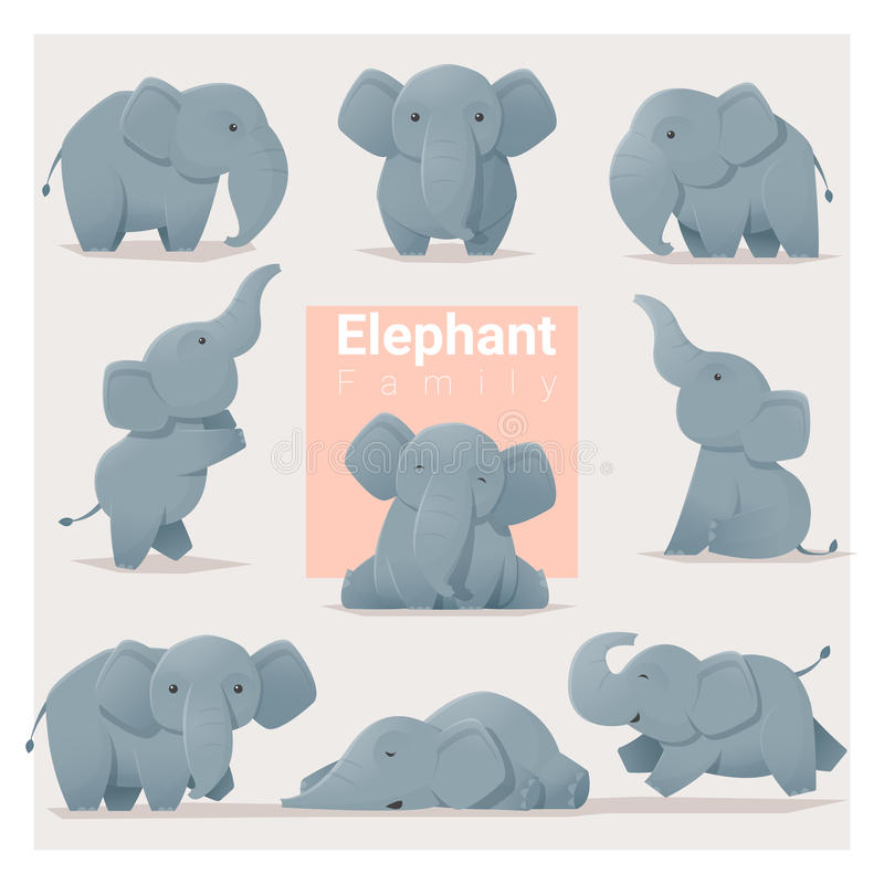 Uppsättning av elefantfamiljen vektor illustrationer