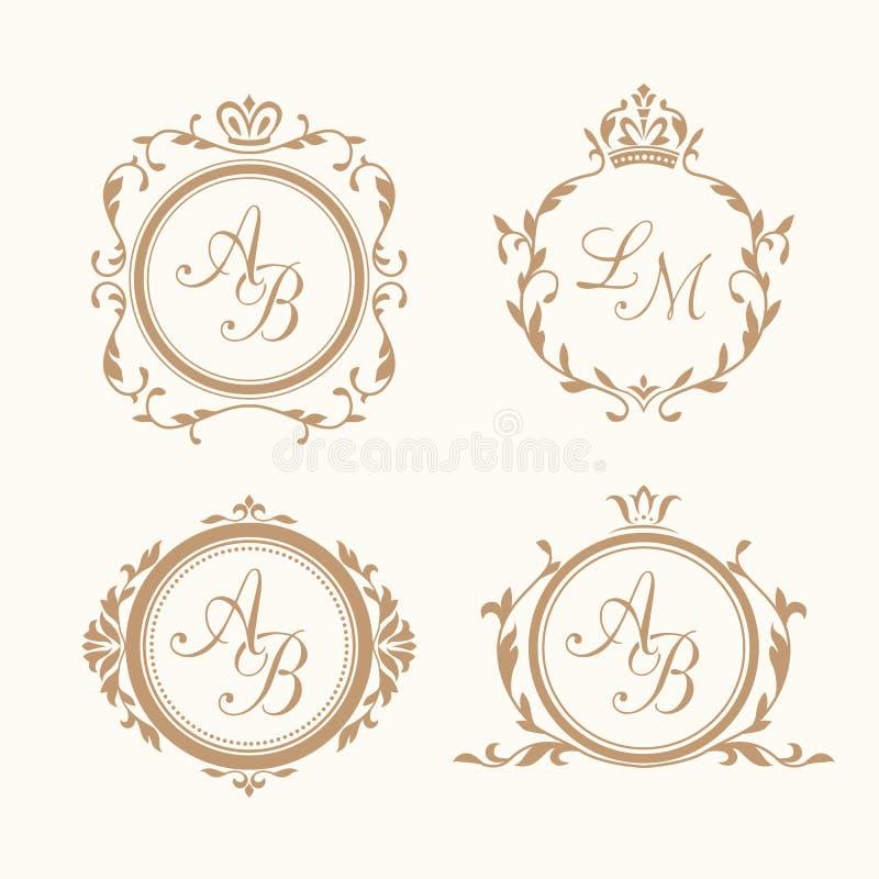 Uppsättning av eleganta blom- monogram royaltyfri illustrationer