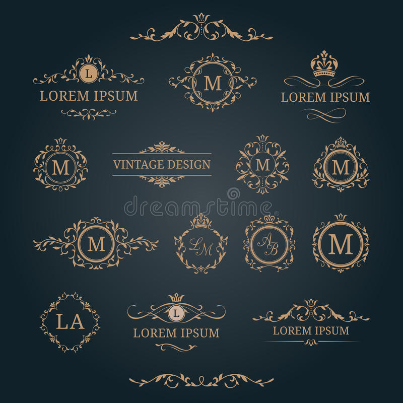 Uppsättning av eleganta blom- monogram och dekorativa beståndsdelar vektor illustrationer