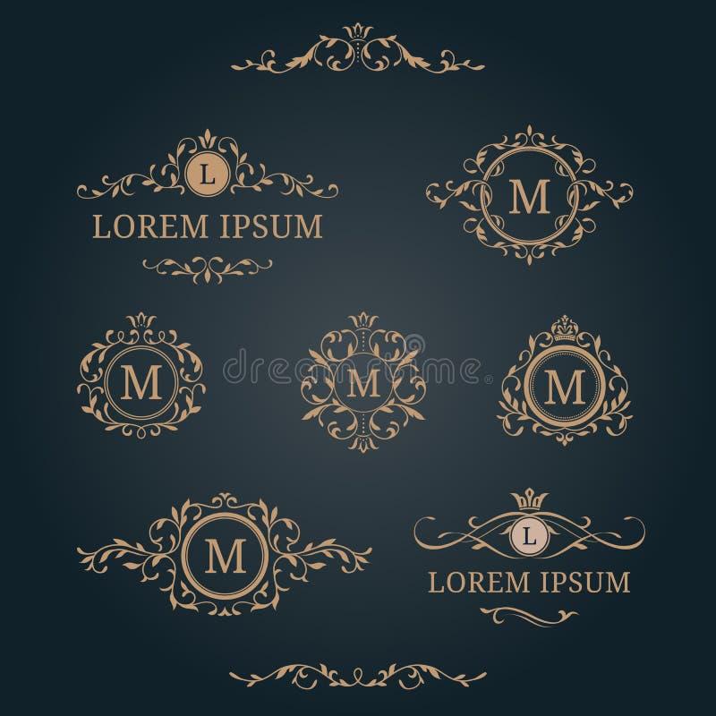 Uppsättning av eleganta blom- monogram och gränser stock illustrationer