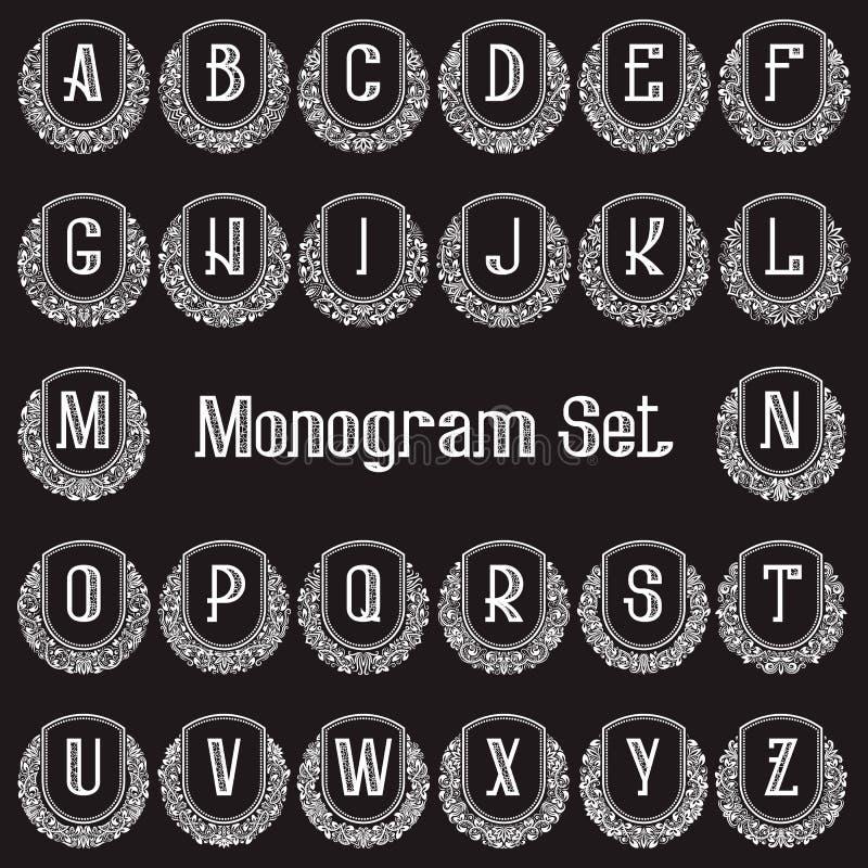 Uppsättning av eleganta monogram i antik stil Vita tappninglogoer av runda utsmyckade ramar och bokstäver för engelskt alfabet royaltyfri illustrationer