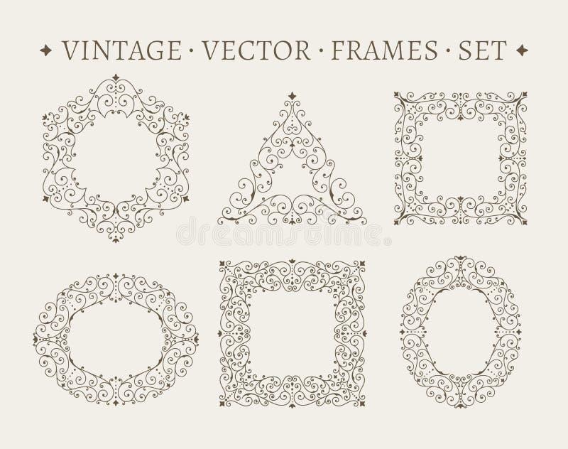 Uppsättning av eleganta utsmyckade mallar för blom- design vektor illustrationer