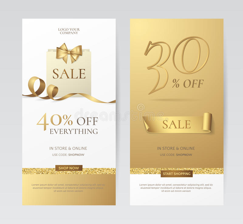 Uppsättning av eleganta vertikala baner med den pappers- shoppingpåsen, den guld- pilbågen och bandet vektor illustrationer
