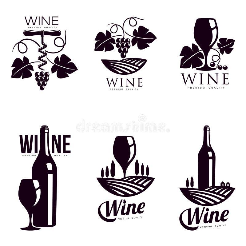 Uppsättning av eleganta vinlogomallar stock illustrationer
