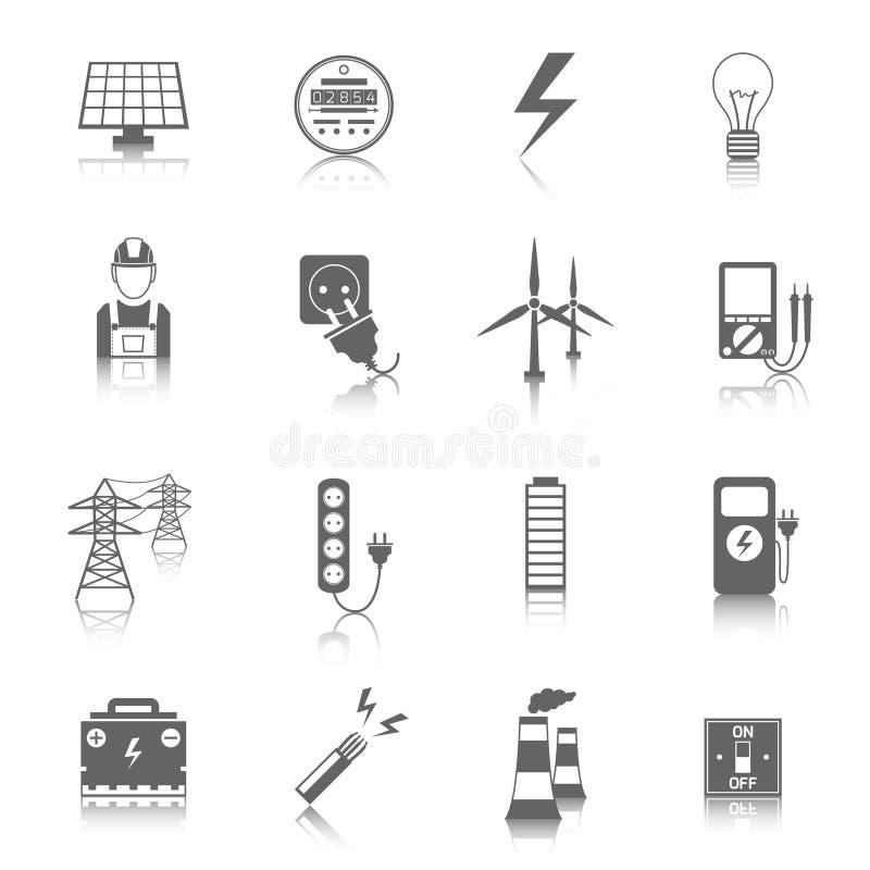 Uppsättning av elektricitetssymboler stock illustrationer