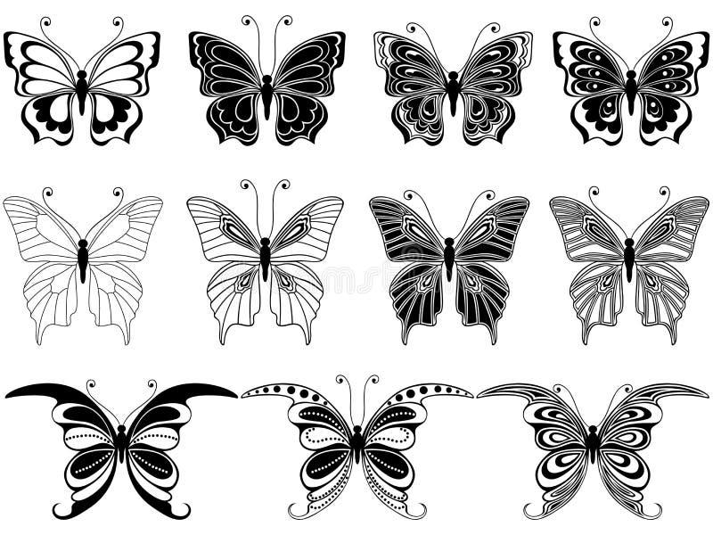 Uppsättning av elva dekorativa fjärilar vektor illustrationer