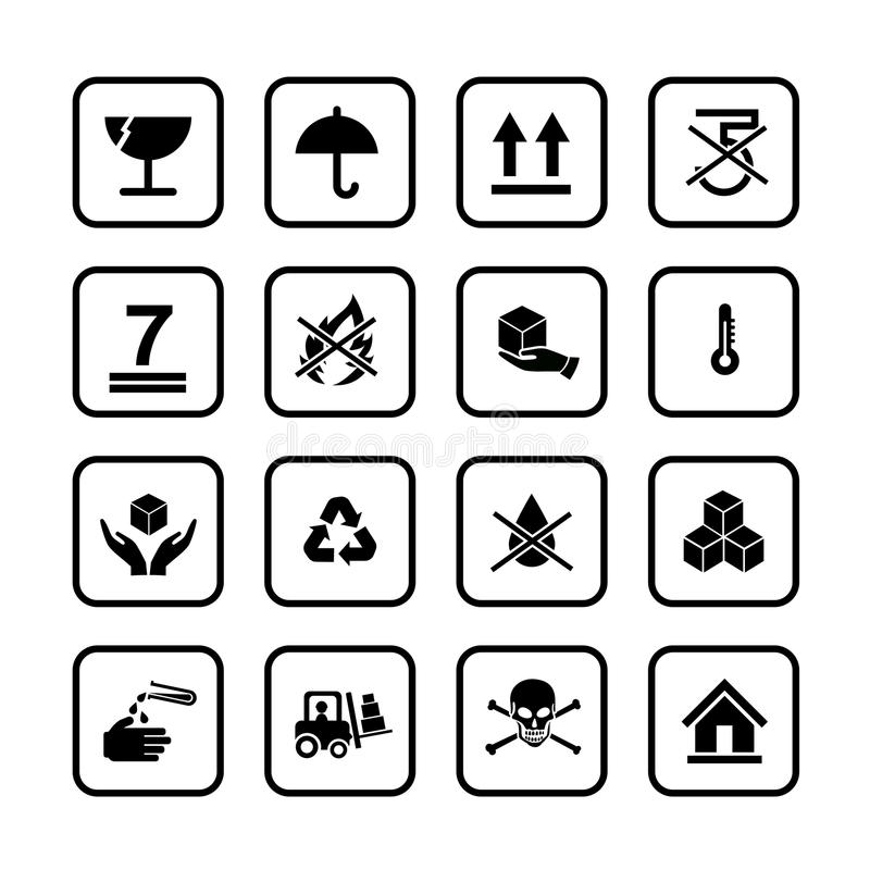 Uppsättning av emballagesymbolsymbolen för ask på vit bakgrund stock illustrationer
