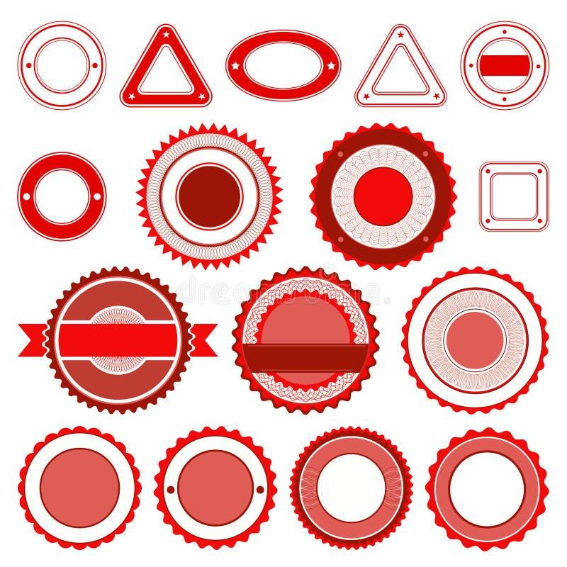Uppsättning av emblem, etiketter och klistermärkear utan text i rött stock illustrationer