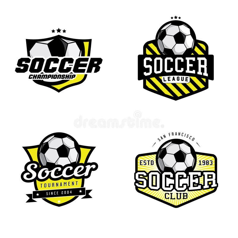 Uppsättning av emblem för fotbollliga royaltyfri illustrationer