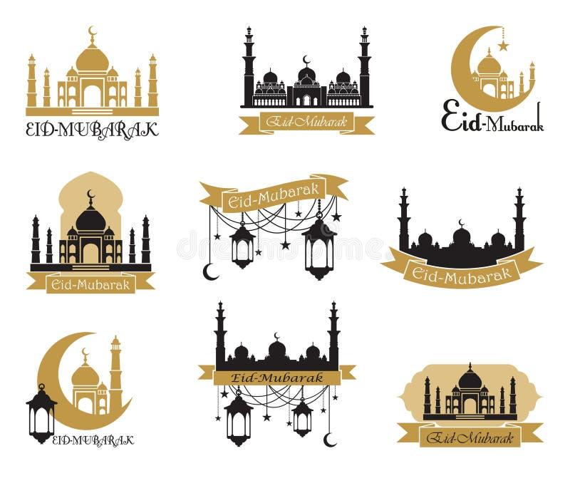 Uppsättning av emblem för islamisk helig ferieRamadan och annan Arabiska traditioner eidhälsning mubarak royaltyfri illustrationer