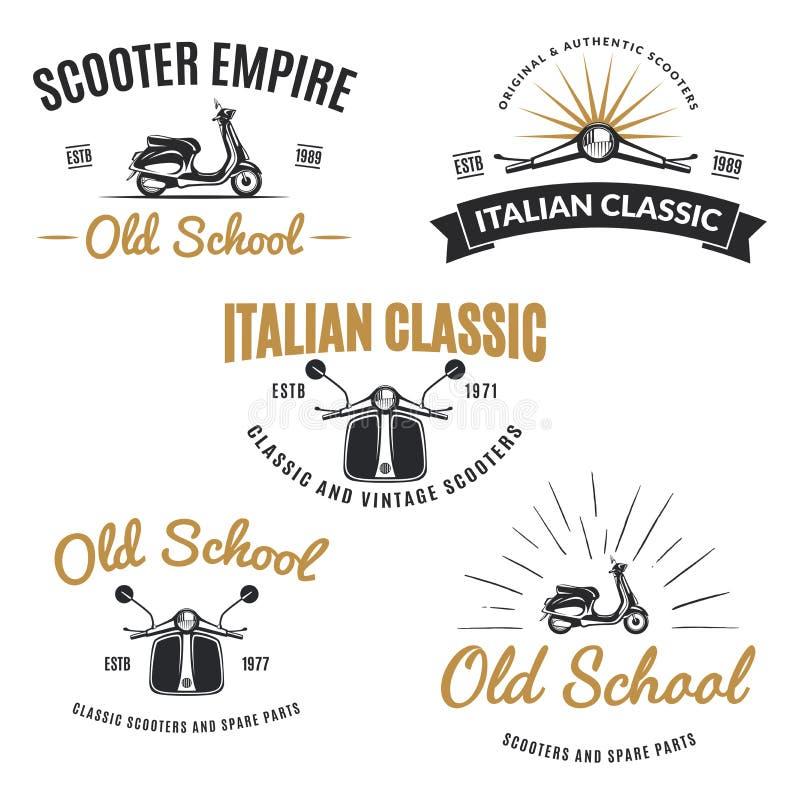 Uppsättning av emblem för tappningvägsparkcykel royaltyfri illustrationer