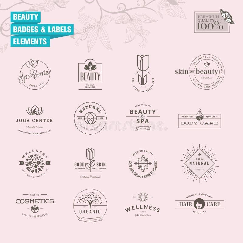Uppsättning av emblem och etikettbeståndsdelar för skönhet royaltyfri illustrationer