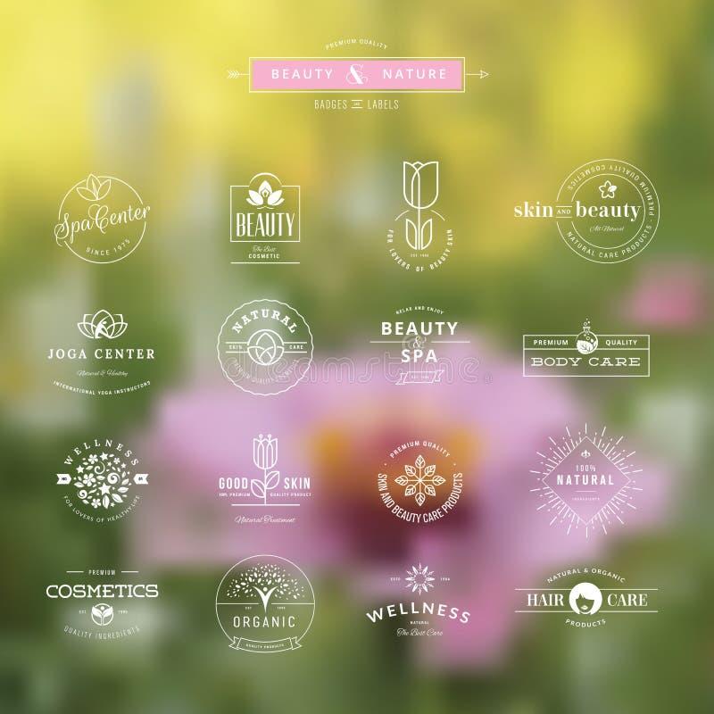 Uppsättning av emblem och etiketter för skönhet stock illustrationer