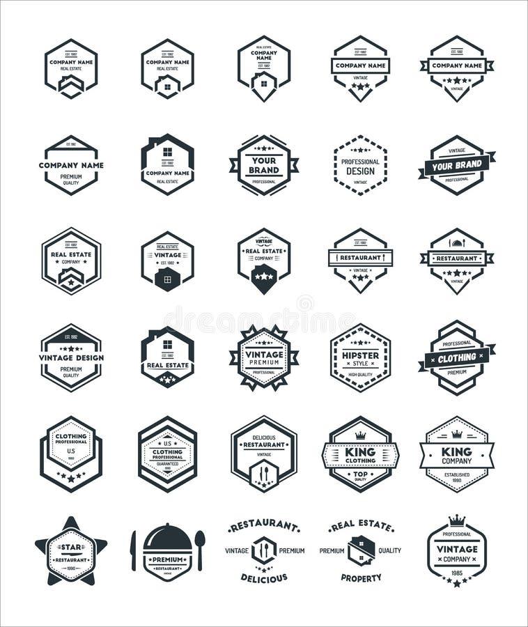 Uppsättning 30 av emblemet Logo Design Template för sexhörningstappningHipster stock illustrationer