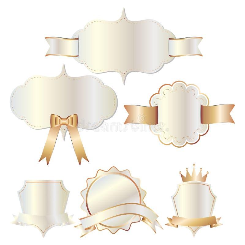 Uppsättning av emblemetiketten för vit guld och bandet, hälsningkort stock illustrationer