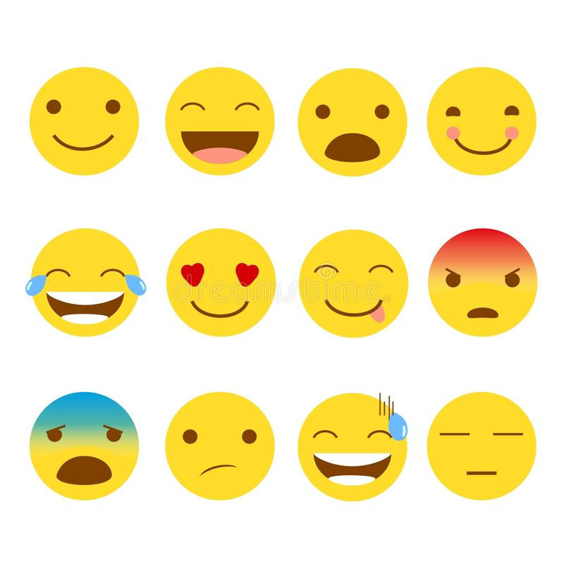 uppsättning 12 av emojis royaltyfri illustrationer