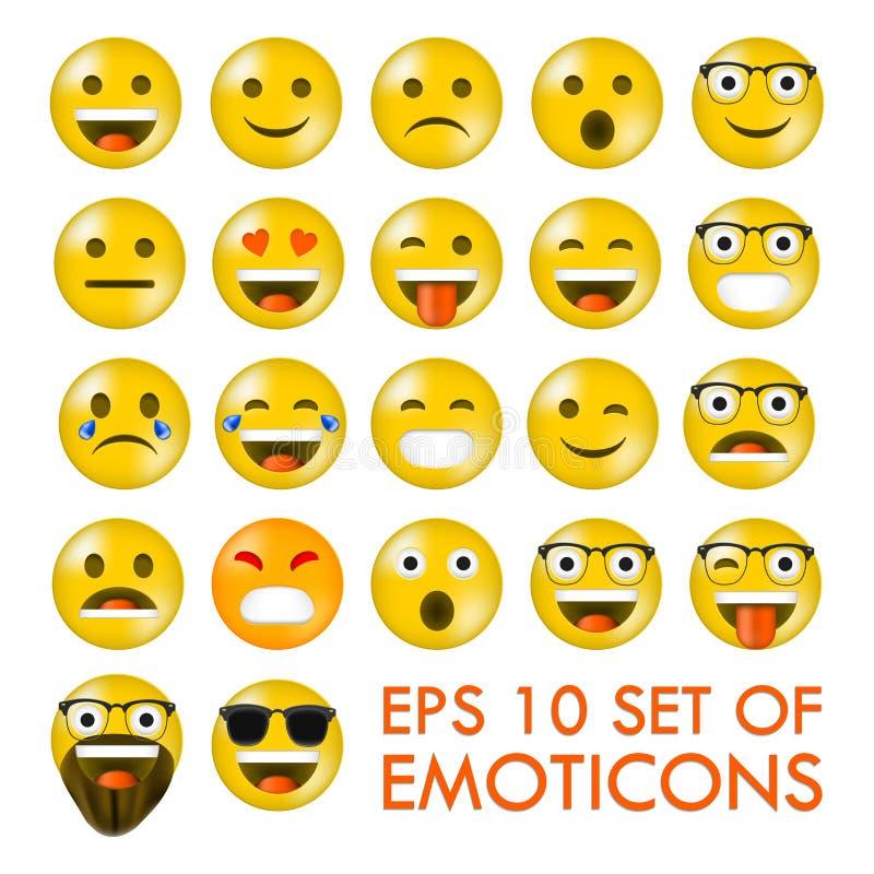 Uppsättning av Emoticons eller Emoji vektor illustrationer