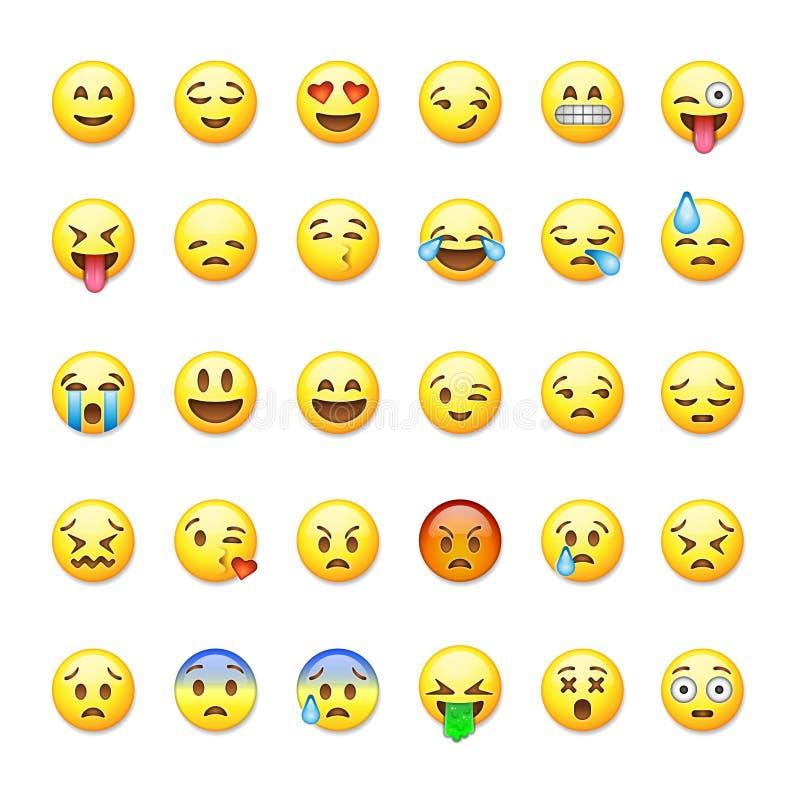 Uppsättning av emoticons, emoji på royaltyfri illustrationer