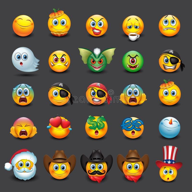 Uppsättning av 25 emoticons, emoji, smiley - illustration stock illustrationer