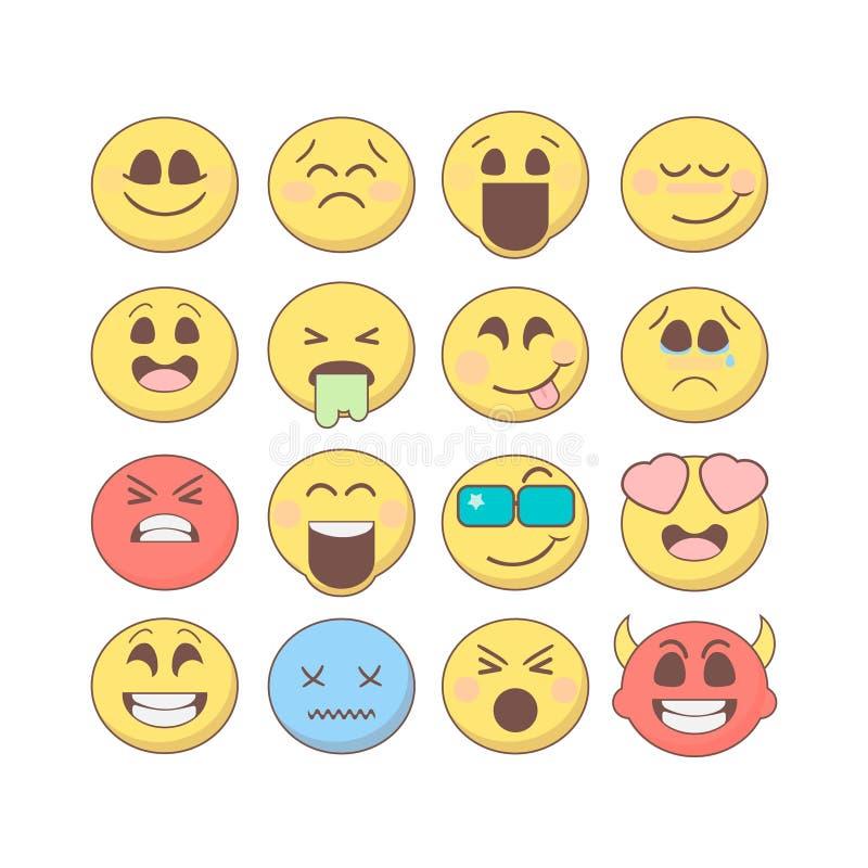 Uppsättning av emoticons, emoji som isoleras på vit bakgrund royaltyfri illustrationer