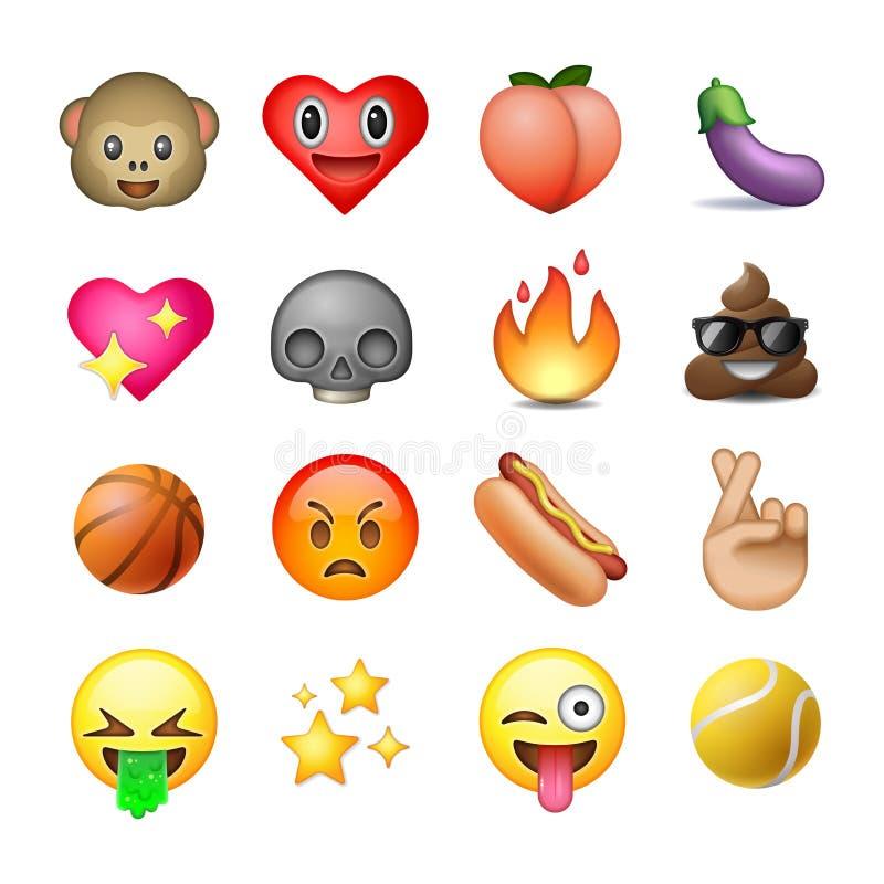 Uppsättning av emoticons, emoji, vit bakgrund vektor illustrationer