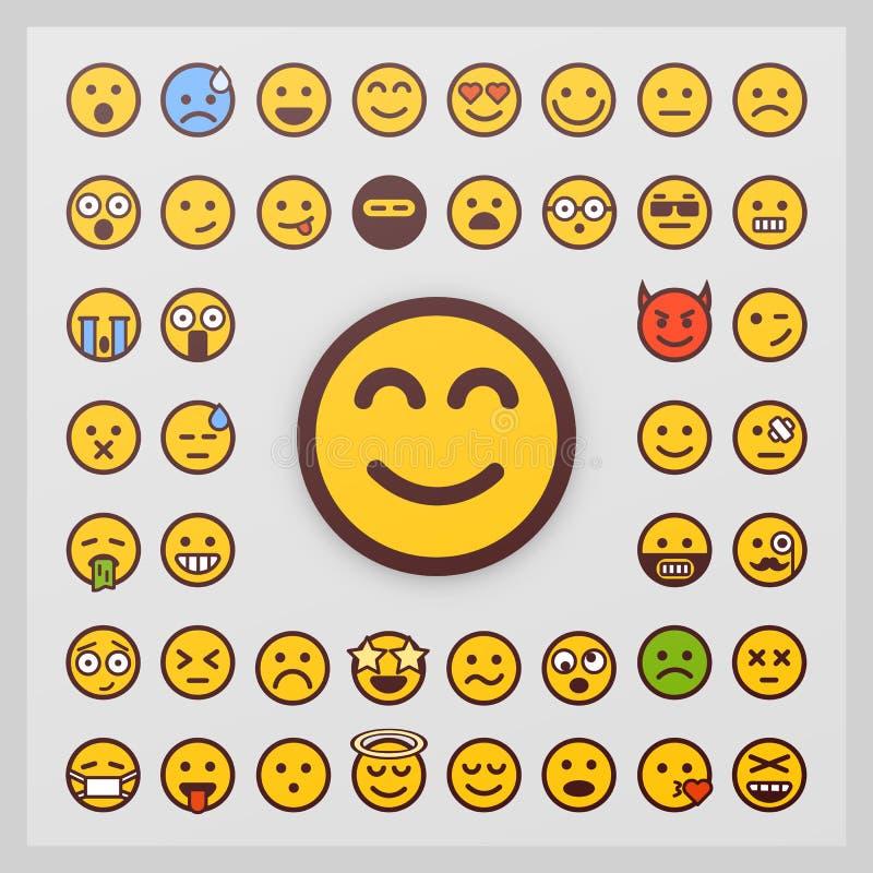Uppsättning av emoticonvektorn på vit bakgrund Emoji vektor Leendesymbolssamling stock illustrationer