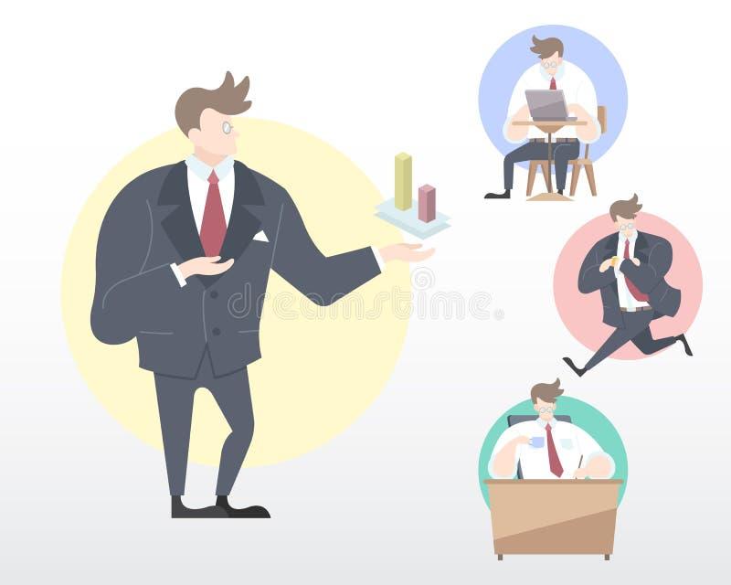 Uppsättning av en affärsman i många rörelseillustration [gåva, att arbeta som transporterar, kopplar av], royaltyfri illustrationer