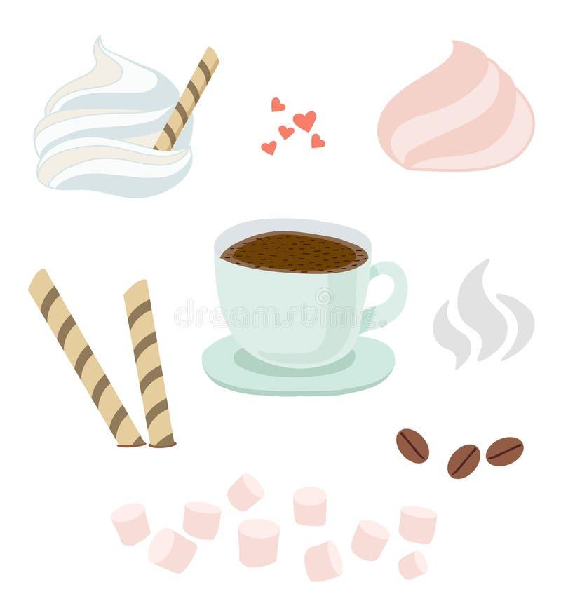 Uppsättning av en kopp med tefatet av varm kaffe eller choklad med piskad kräm, rån, liten marshmallow, kakor Ånga kaffebönor, mi stock illustrationer