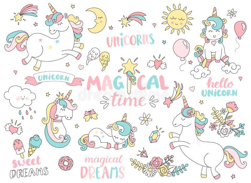 Uppsättning av enhörningar och andra magiska beståndsdelar royaltyfri illustrationer