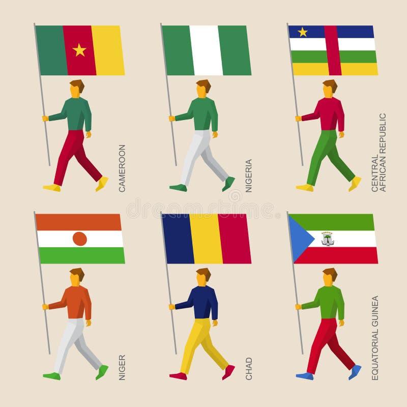 Uppsättning av enkelt plant folk med flaggor av afrikanska länder vektor illustrationer