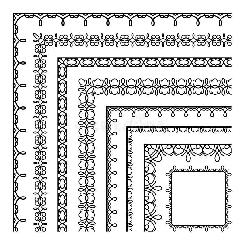 Uppsättning av enkla gränshörn stock illustrationer