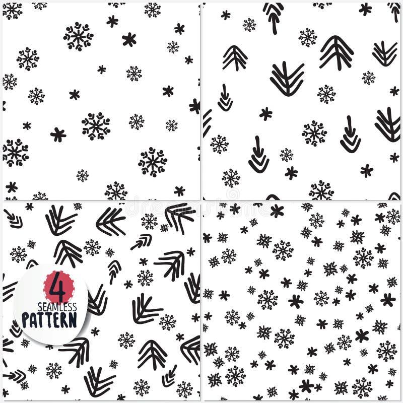 Uppsättning av enkla julmodeller stock illustrationer