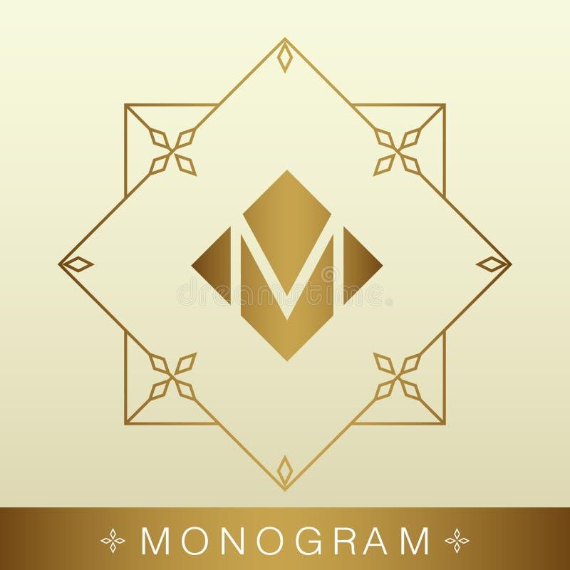 Uppsättning av enkla och behagfulla monogramdesignmallar, elegant li royaltyfri illustrationer