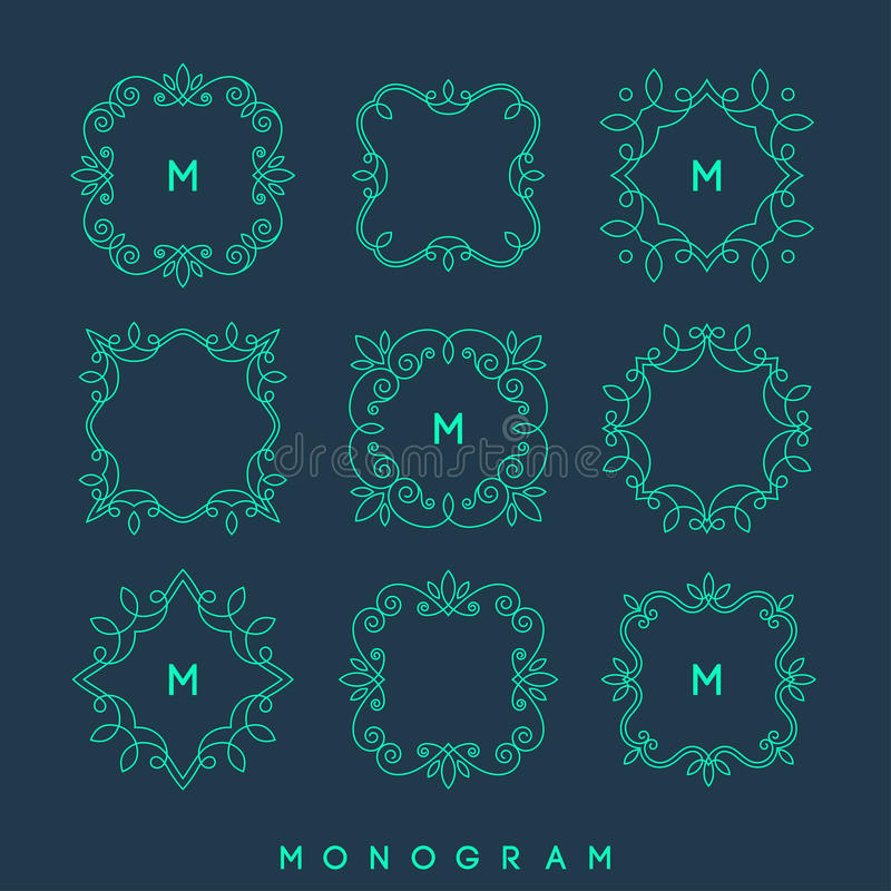Uppsättning av enkla och eleganta monogramdesignmallar stock illustrationer