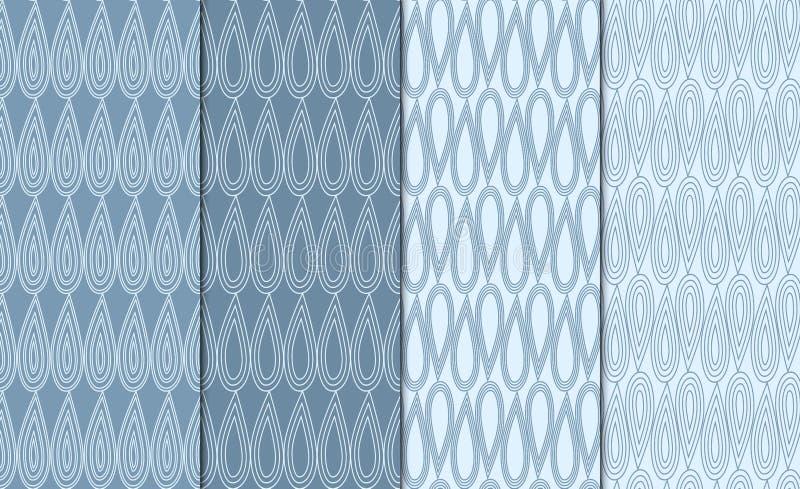 Uppsättning av enkla skisserade geometriska modeller Linjär minimalistic bakgrundsuppsättning 4 upprepande texturer med droppmoti royaltyfri illustrationer
