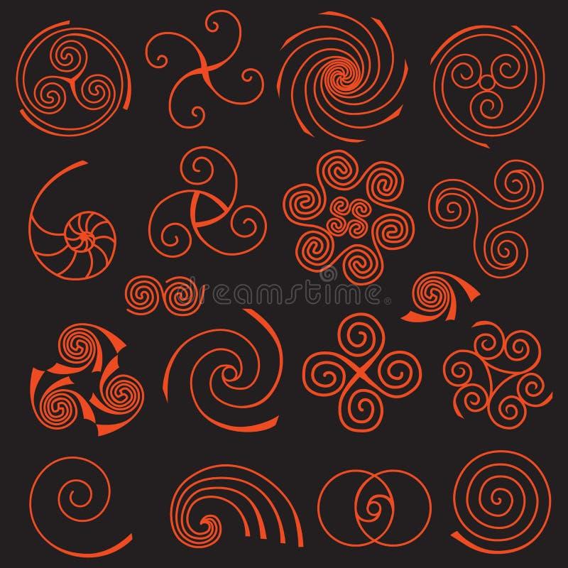 Uppsättning av enkla spirala beståndsdelar vektor illustrationer