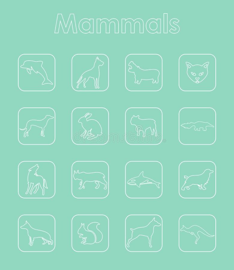Uppsättning av enkla symboler för däggdjur vektor illustrationer