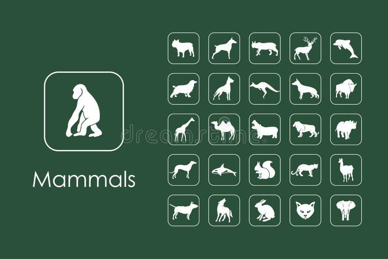 Uppsättning av enkla symboler för däggdjur royaltyfri illustrationer