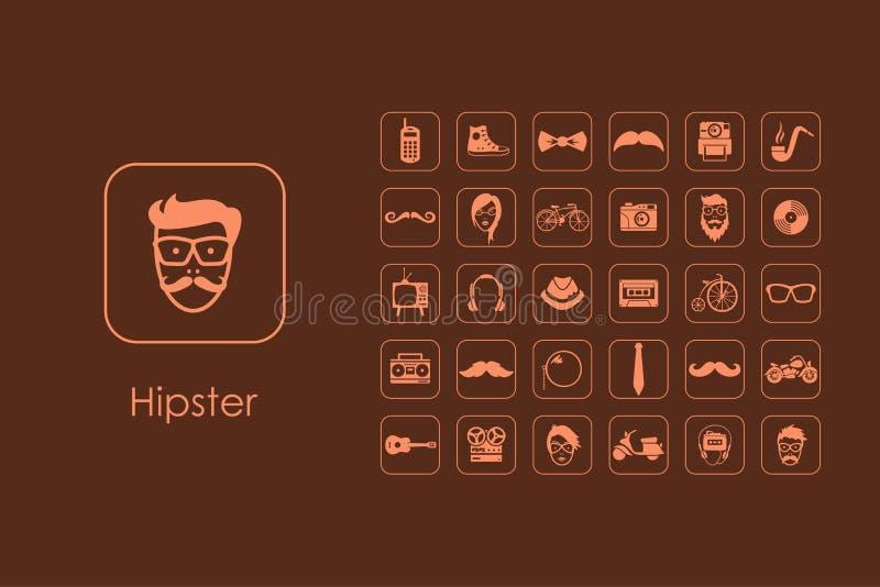Uppsättning av enkla symboler för hipster stock illustrationer