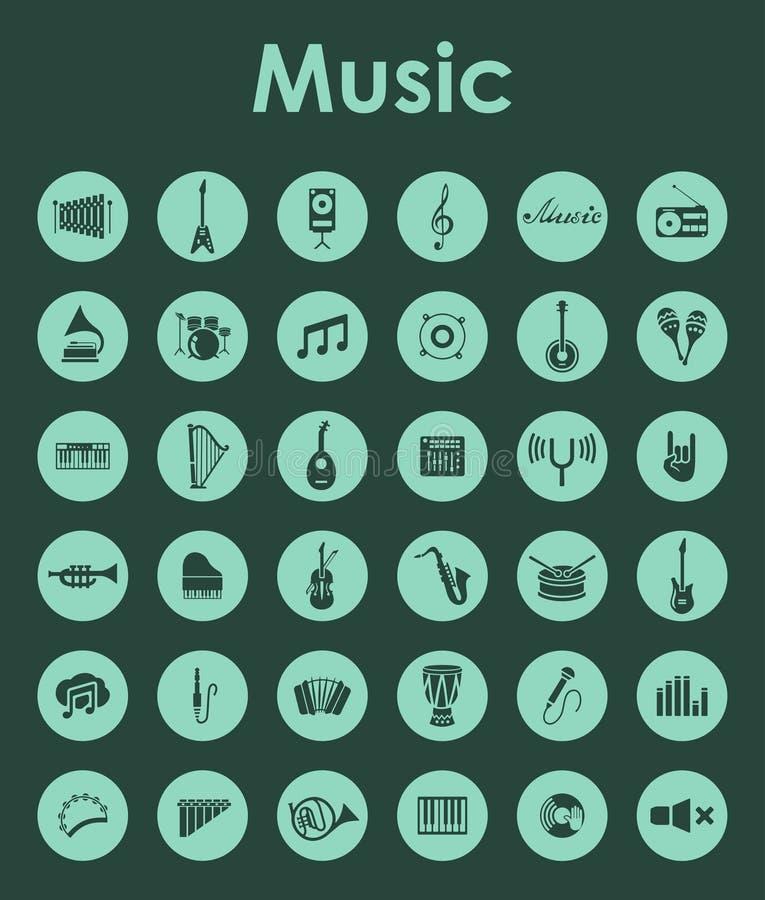 Uppsättning av enkla symboler för musik vektor illustrationer